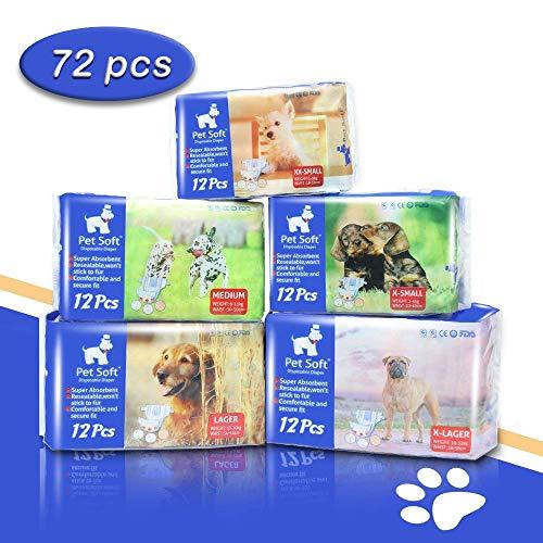 Pet Soft Pet Disposable Female Puppy Dog Diaper,72 Count, XXS