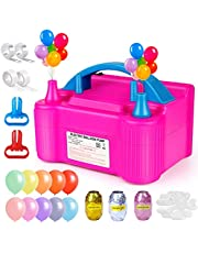 Electric Balloon Pump Set 50pcs, Portable Dual Nozzle Balloon Air Pump Electric 110V 600W, Balloon Inflator/Blower, Balloon Arch Kit for Birthday Decorations, Parties, Wedding & Festival (Rose Red)