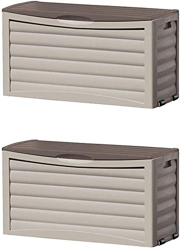 Suncast Outdoor Patio Deck Resin 63 Gallon Storage Chest Box, Taupe 2 Pack