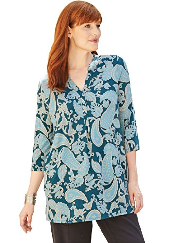 Jessica London Women's Plus Size Split V-Neck Tunic Tonal Paisley,14/16 (Jessica London Sweater Dress)