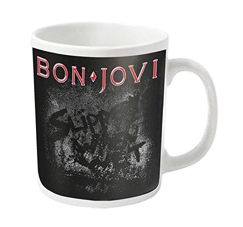 Bon Jovi Mug Slippery When Wet Album Band Logo Official White ()