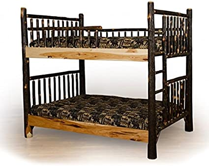 Amazon Com Furniture Barn Usa Rustic Hickory Log Full Over Full Bunk Beds Amish Made Furniture Decor