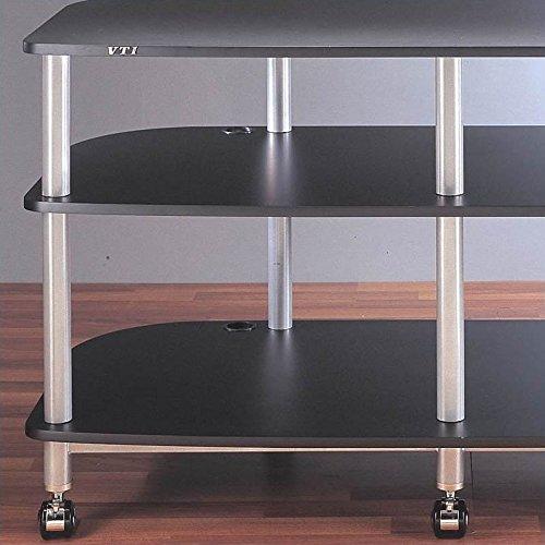 AR Series Mobile LCD TV Stand (Black w Black Shelf)