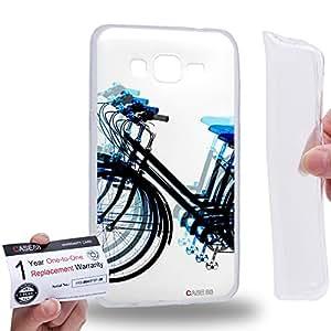 Case88 [Samsung Galaxy Grand Prime] Gel TPU Carcasa/Funda & Tarjeta de garantía - Art Fashion Blue Psychedelic Bicycle Art1330