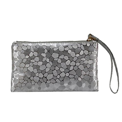 Gray Change Stone Clutch Zipper Zero Lively Texture Fashion Phone Coins Women Paymenow Bags Purse Wallet Key YFq4UaZwn