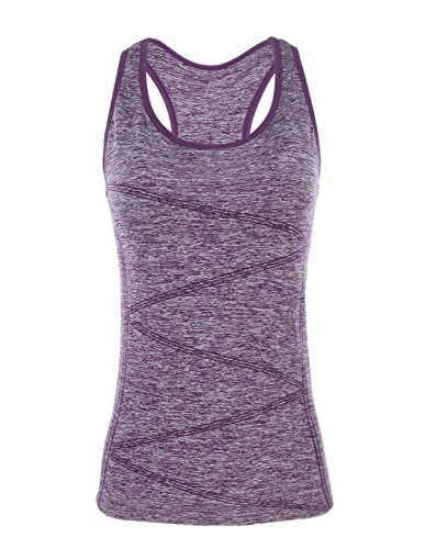 - DISBEST Yoga Tank Tops for Women, Stretchy Sleeveless Shirt Workout Running Tops with Removable Bra Pads Purple M