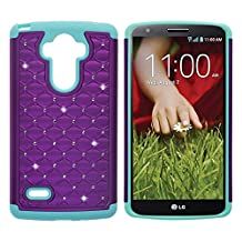 LG G Stylo Case, LG LS770 Case, LG G4 Stylus Case, KAMII Dual Layer Studded Rhinestone Crystal Bling Hybrid Armor Defender Diamond Case Cover for LG G4 Stylus /LG LS770 / LG G Stylo (Purple+Aqua)