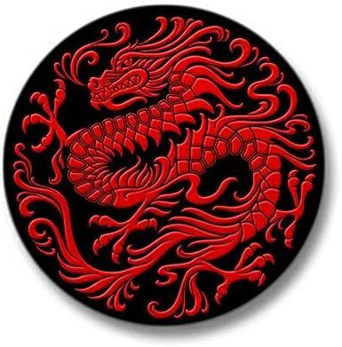Traditional Golden Red Chinese Dragon Circle Mini Mini Button CafePress