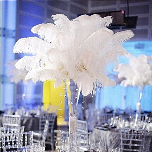 (Shekyeon 18-20inch 45-50cm Ostrich Feather Wedding Table Decoration Party Festival Supplies Pack of 5 (White))