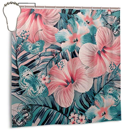 Puloa Vintage Jade Coral Aloha Shower Curtains with 12PCS Stainless Steel Hooks Rings,Durable Mildew Bathroom Curtain 72