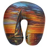 Raglan Carnegie Sailboat Sunset Wood U Shaped Neck Head Support Comfortable Travel Pillow Provides Relief for Travel Home Neck Pain and Many More