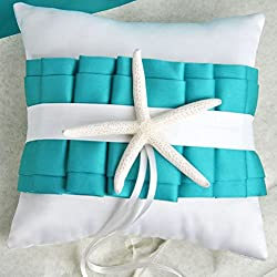 Turquoise Starfish Satin Beach Themed Wedding Ring Pillow 8''x8'' Party Favors
