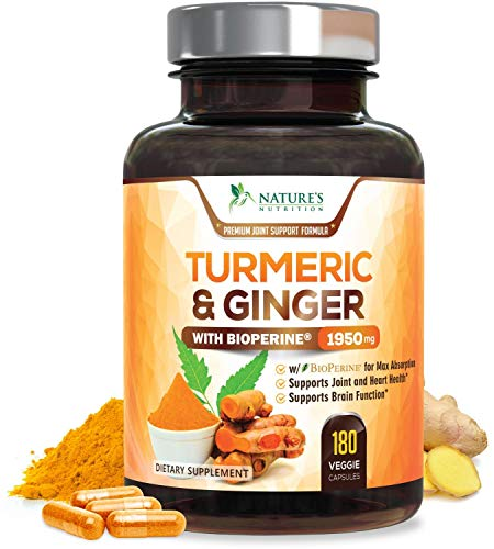 (Turmeric Curcumin with Ginger 95% Curcuminoids 1950mg with Bioperine Black Pepper for Best Absorption, Anti-Inflammatory Joint Relief, Turmeric Supplement Pills by Natures Nutrition - 180)