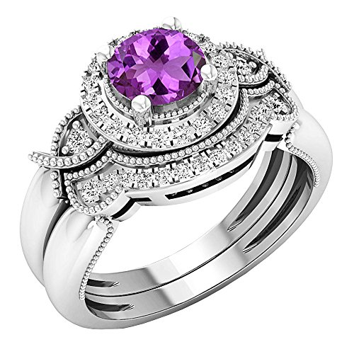 - Dazzlingrock Collection 18K 6 MM Round Amethyst & White Diamond Ladies Halo Engagement Ring Set, White Gold, Size 8.5