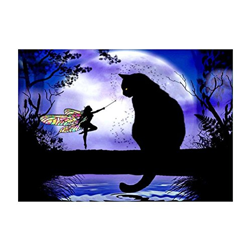 (UEB Black Cat and Butterfly Fairy 5D Diamond Embroidery Painting Cross Stitch 40)