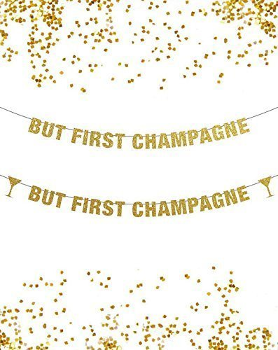 but first champagne banner new year banner decor get drunk banner glitter banner