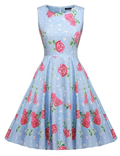 eless Cotton Vintage Tea Floral Print Dress (Multi-Colored),Light Blue,Medium (Brenda Swing Dress)