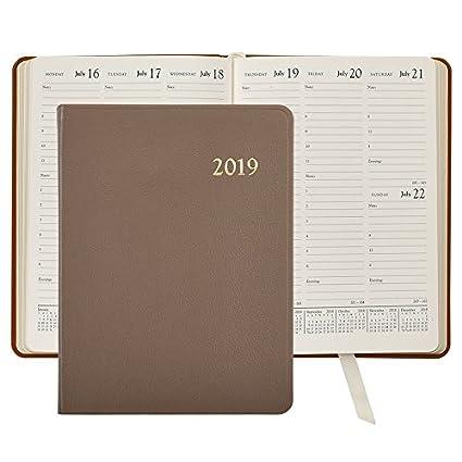 2019 Desk Diary/Organizer/Appointment Book, Genuine Goatskin Leather, 9