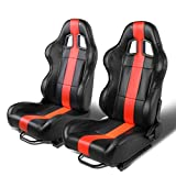 Set of 2 Universal Thick Vertical Stripe Type-R PVC Leather Reclinable Racing Seats w/Sliders (Black/Red)
