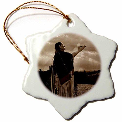 Native American Tree Ornaments (3dRose orn_92694_1 Native American Medicine Woman, Santa Fe, NM-US32 JMR0546-Julien McRoberts-Snowflake Ornament, Porcelain, 3-Inch)