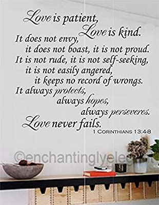 Love Is Patient Love Is Kind Vinyl Decal Wall Sticker Words Lettering Christian Bible Verse Religious Décor 23x21