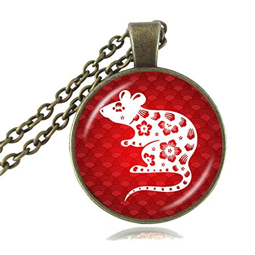 LUOR Trade Co.,Ltd The Chinese Zodiac Pendant Necklace, Good Luck Charm Accessories,Animal Jewelry,Year of The Pig, Rat, Ox, Tiger, Rabbit, Dragon Choker, Birthday Gifts (Rat, Antique Bronze) Chinese Sheep Zodiac Pendant