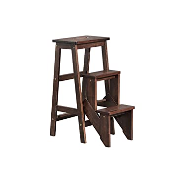 Amazon.com: Taburete de escalera plegable de madera maciza ...