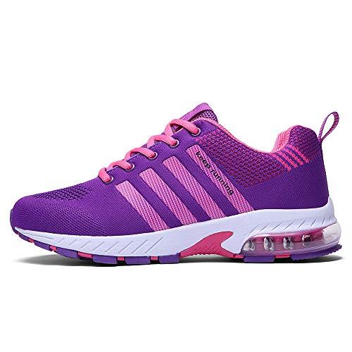 Ahico Running Shoes Women - Air Cushion Womens Tennis Shoe Lightweight Fashion Walking Sneakers Breathable Athletic Training Sport Purple Size 4.5