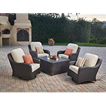 Sunbrella Deep Seating Outdoor Chat Set Swivel Glide Rocking Club Aluminum  Wicker Bistro Patio Furniture,