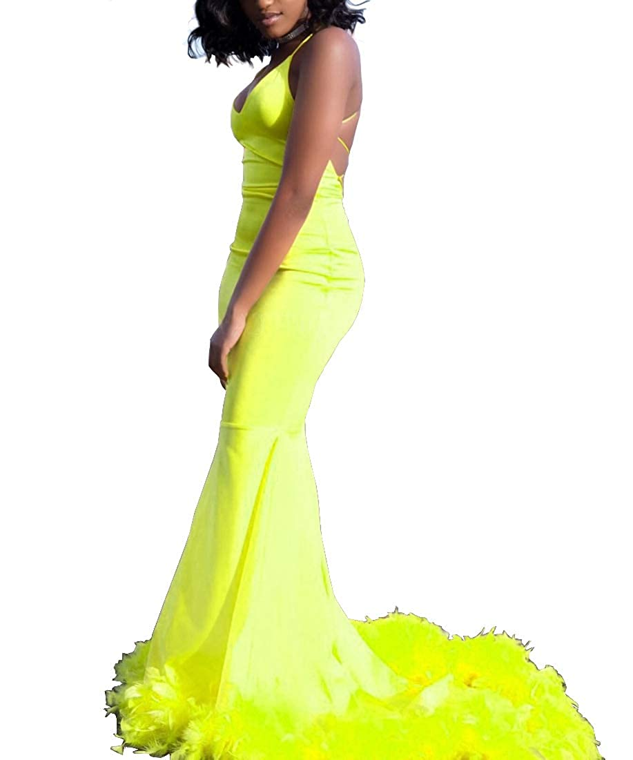 Lemon Sweet Bridal Women's Long Feathers Spaghetti Straps Open Back Prom Dress Maxi Sweep Train Evening Gown