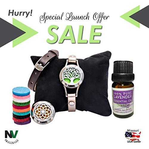 NV Originals Essential Oil Single Wrap Around Leather Bracelet Set (includes 2 bands, 2 faces, 12 pads, and 10ml Lavender Essential Oil) - Anxiety Bracelet - Yoga Bracelet - Makes A Unique Gift!