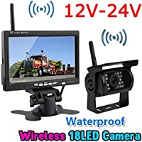 Wireless 18LEDs IR Night Vision Reversing Backup Rear View Camera System+Wireless 7 TFT LCD Color HD Monitor for RV Truck Trailer Bus 12V-24V
