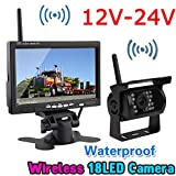 "Wireless 18LEDs IR Night Vision Reversing Backup Rear View Camera System+Wireless 7"" TFT LCD Color HD Monitor for RV Truck Trailer Bus 12V-24V"