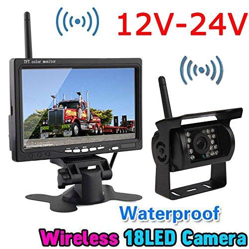 Wireless 18LEDs IR Night Vision Reversing Backup Rear View Camera System+Wireless 7