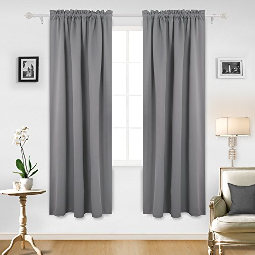Cheap Deconovo Light Grey Blackout Curtains Rod Pocket Curtain Panels Room Darkening Curtains for Bedroom 52W x 84L Inch 2 Panels