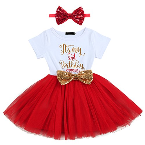 Baby Girls It's My 1st/2nd Birthday Cake Smash Banquet Fall Outfits Shinny Printed Sequin Bow Tutu Princess Dress Clothes Set 2pcs Red(2 Years) from IBTOM CASTLE