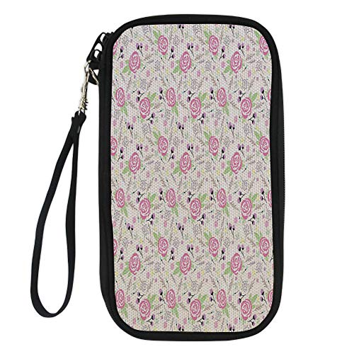 iPrint Floral,Artistic Composition with Rose Blooms Flower Buds Lively Summer Dahlia Ornaments,Multicolor for Women Canvas Document Organizer Clutch