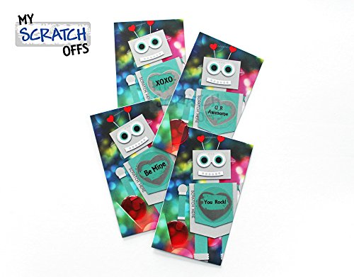 Robot Valentines Day DIY Scratch-off School Kids Classroom Love Notes Mini Cards Kit, Preprinted Messages (25 cards) My Scratch - Valentines Diys Day