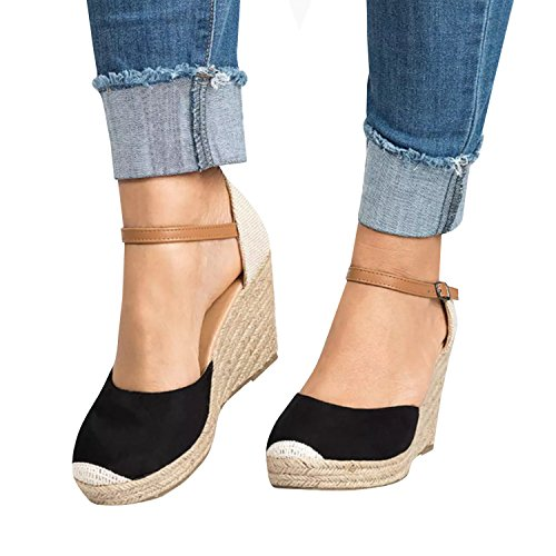 Block Ankle Strap Espadrille Platform Wedge Heeled Cap Toe Sandals (Leather Color Block Platform)