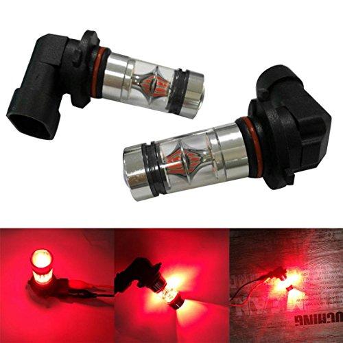 2X H10 9005 9006 100W 20LED HID 2323 Fog Driving DRL Light Bulbs,Tuscom (Red)
