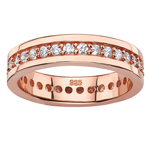- Seta Jewelry Round White Cubic Zirconia Rose Gold over .925 Sterling Silver Eternity Channel Ring