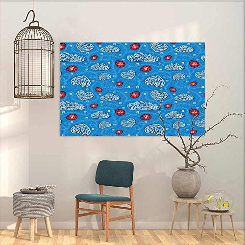 (Oil Painting Modern Wall Art Posters Sticker Ladybugs Ladybugs and Ornate Clouds Magic in The Air Pure Hope Creatures Art Design Print Office Art Decoration Blue Red W31 xL23)