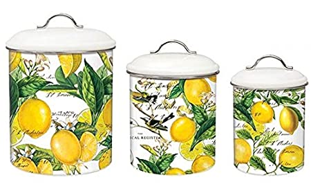 Michel Design Works 3-Piece Metal Kitchen Canister Set, Lemon Basil