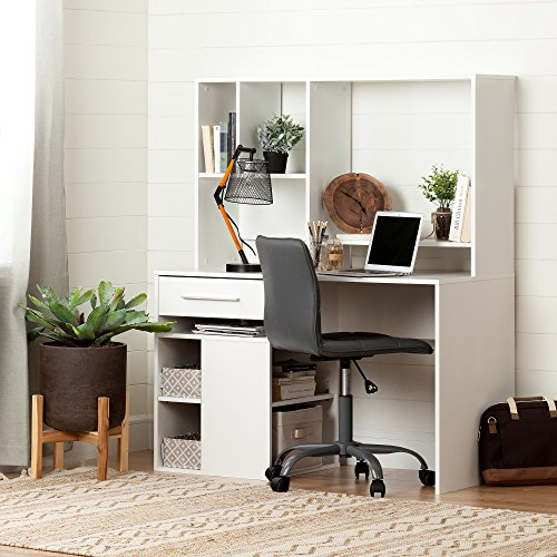 South Shore Annexe Pure White Desk & Gray Office Chair with Quilted Seat