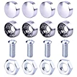 eBoot Stainless Steel License Plate Frame Bolt Screws Fasteners with Zinc Safety Screw Caps