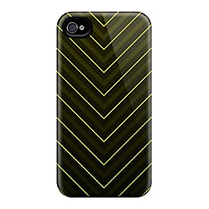 Anti-scratch And Shatterproof Yellow V Stripes Phone Case For Iphone 4/4s/ High Quality Tpu Case