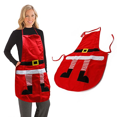 AGM Novelty Santa Cooking Baking Kitchen Christmas Decoration Unisex Chef Red Apron (22' Santa Stocking)