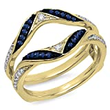 14K Yellow Gold Round Blue Sapphire & White Diamond Ladies Wedding Band Guard Double Ring (Size 7.5)