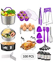 120 PCS Accessories Set for Instant Pot, Fungun Accessories Compatible with 5/6/8Qt Instant Pot, 100 Pcs Cake Baking Papers, 2 Steamer Baskets, Springform Pan, Egg Rack, Egg Mold, Oven Mitts and More