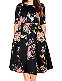 Women's Plus Size Floral 3/4 Sleeve Backless Cocktail...